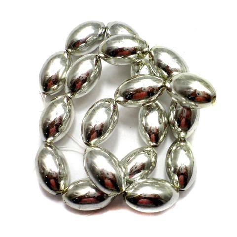 5 Strings Metallic CC Oval Beads Silver 20x12mm