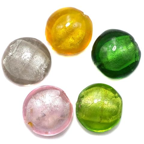 35+ Silver Foil Dome Beads Assorted 20
