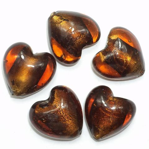 40+ Silver Foil Heart Beads Dark Brown 18 mm