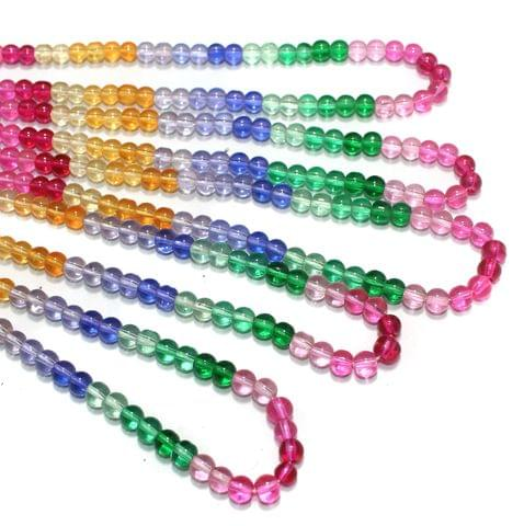 6mm Multicolored Round Beads 5 Strings