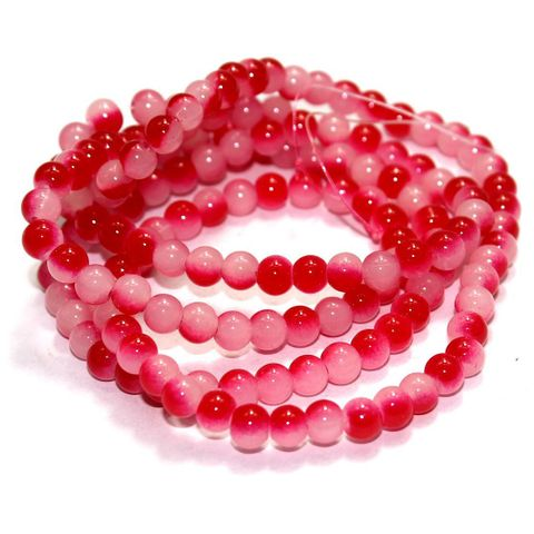 1 String Glass Round Beads Red 6mm