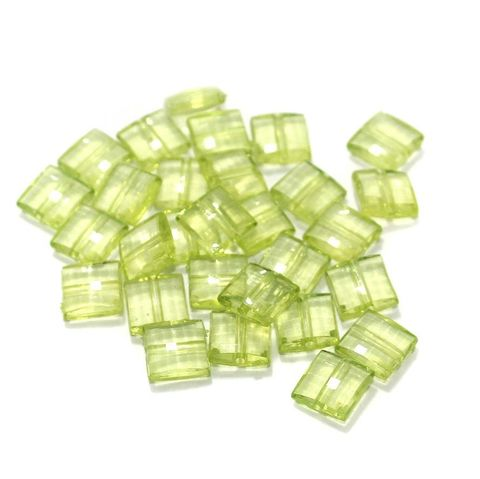100 Gm Acrylic Crystal Faceted Flat Square Center Drill Beads Trans Light Green 10x5 mm