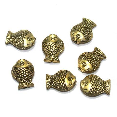 50 Pcs. German Silver Golden Fish Beads 13x10 mm