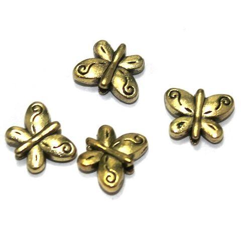 100 Pcs. German Silver Golden Butterfly Beads 10x8 mm