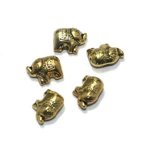 50 Pcs. German Silver Golden Elephant Beads 11x9 mm