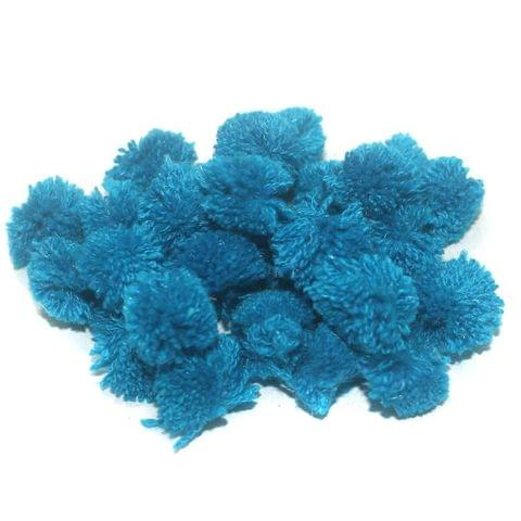 200 Pcs. Pom Pom Round Beads Teal 15 mm