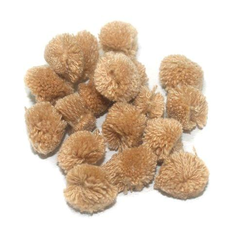 200 Pcs. Pom Pom Round Beads Brown 15 mm
