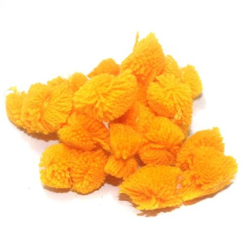 200 Pcs. Pom Pom Round Beads Orange 15 mm