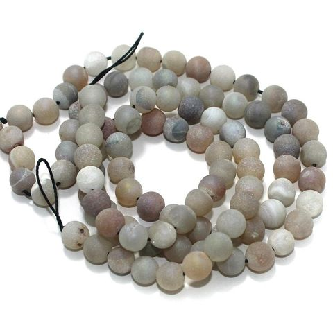 Druzy Stone Round Beads White 8 mm, Pack Of 2 Strings