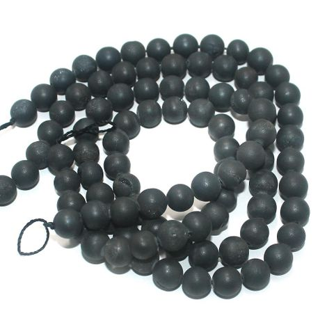 Druzy Stone Round Beads Black 8 mm, Pack Of 2 Strings