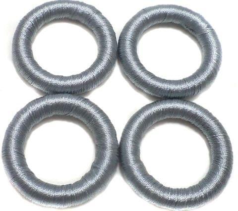 20 Crochet Rings Silver 30 mm