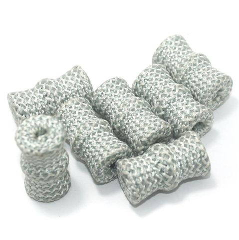25 Pcs Crochet Tube Beads Silver 29x17 mm