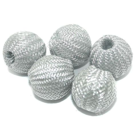 25 Pcs Crochet Round Beads Silver 21x23 mm