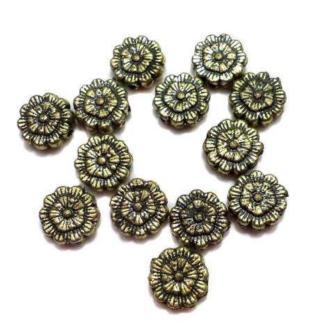 200 Gm Acrylic Flower Beads Golden Finish 9