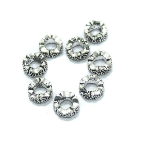 25 Pcs. German Silver Spacer Beads, Size-10x5mm