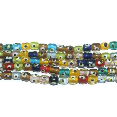 5 Strings Glass Evil Eye Tyre Beads Multicolor 8x7 mm