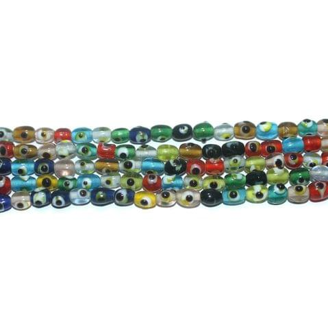 5 Strings Glass Evil Eye Oval Beads Multicolor 6x4 mm