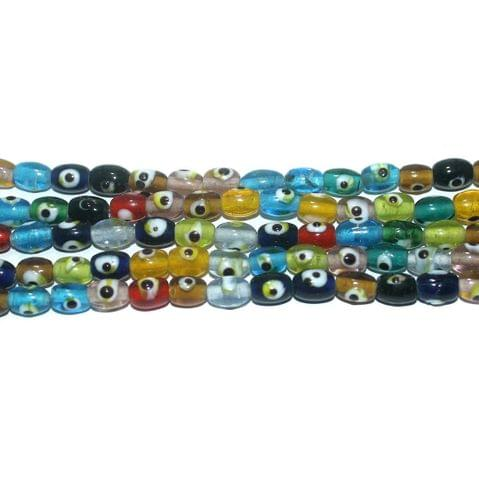 5 Strings Glass Evil Eye Oval Beads Multicolor 8x6 mm