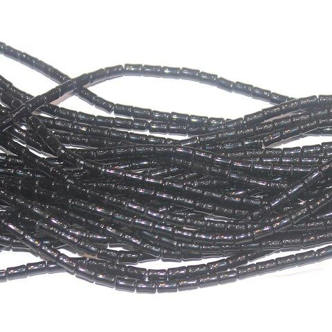 Tube Beads Black 3x5mm 10 Strings