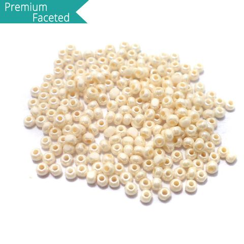 500 Gm Faceted Seed Beads Opaque Off White 11/0 (2mm)