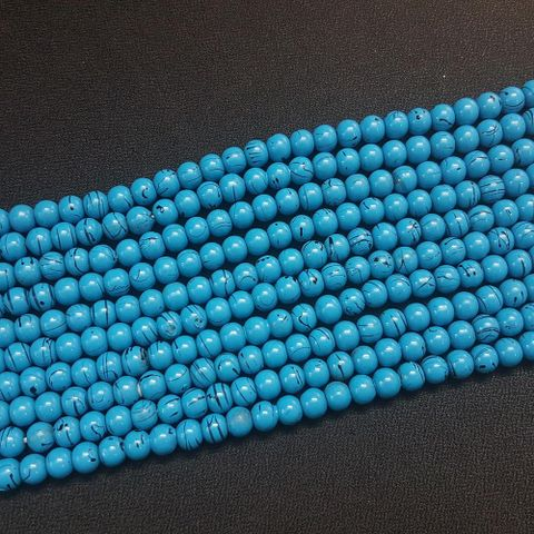 5 Lines, 6 mm Sky Blue Color Glass Beads For Jewellery Making/ 15 Inch/ 63+ Beads in Each String