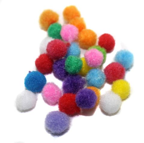 200 Pom Pom Round Beads Assorted 6mm