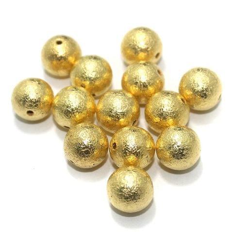 100 Gm CCB Round Beads Golden 8 mm