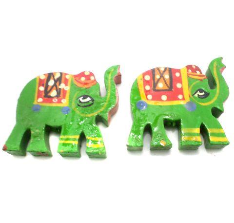 25 Pcs. Wooden Elaphant Beads Parrot Green 1.5x1.25 Inch
