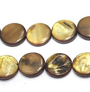 35+ Shell Disc Beads Brown 10mm