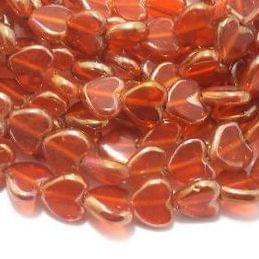 5 Strings Window Metallic Lining Heart Beads Orange 13x10 mm