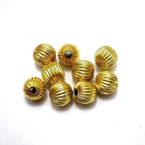 100 Golden Finish Beads Round 8mm