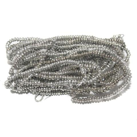 50 Gm Metal Hammered Rondelle Beads Silver 3x1 mm