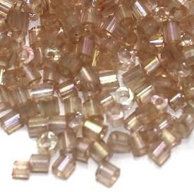 2 Cut Seed Bugles Beads Light Purple Rainbow (100 Gm), Size 11/0
