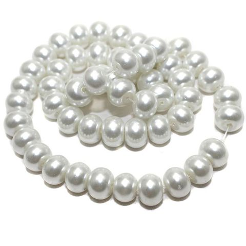 45+ Glass Pearl Beads RONDELLE Off White 10 mm