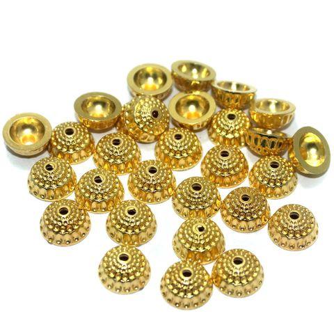 200 Pcs. Silk Thread Jewellery Making Acrylic Bead Caps Golden, Size 14x7 mm