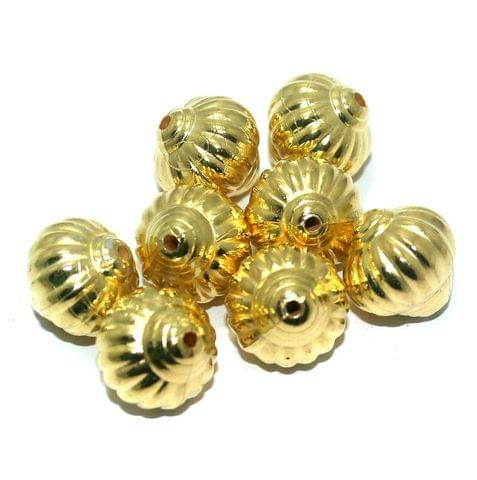 50 Pcs. Silk Thread Jewellery Making Acrylic Kharbooja Beads Golden, Size 16 mm