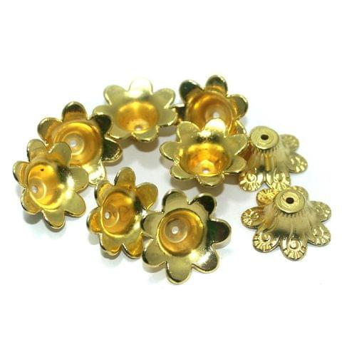 50 Pcs. Silk Thread Jewellery Making Acrylic Bead Caps Golden, Size 25x9 mm