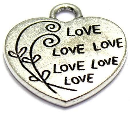 5 German Silver Heart Charms 24X21mm