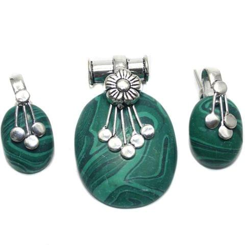 German Silver Stone Pendant and Earring Set Green 45-28mm
