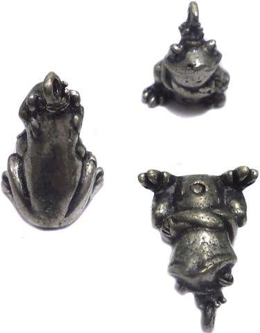 5 German Silver Frog Pendants Charms 13x8mm