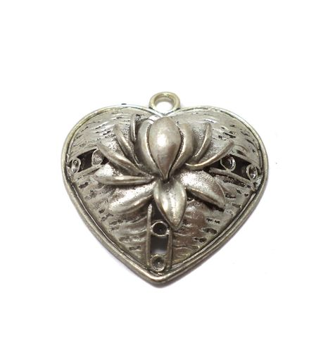 2 Pcs. German Silver Heart Pendants 40x35 mm