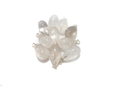 10 Pcs. White Onyx Drop Stone Pendants 32x20 mm