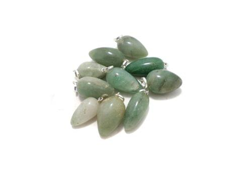 10 Pcs. Green Jasper Drop Stone Pendants 32x20 mm
