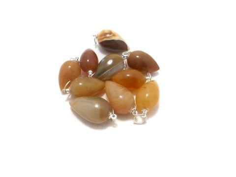 10 Pcs. Camel Onyx Drop Stone Pendants 23x12 mm