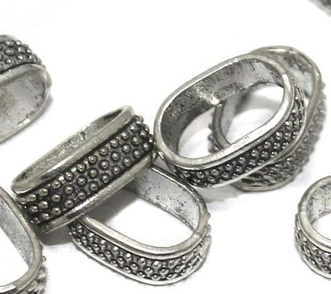 20 German Silver Slider Beads 18x8mm