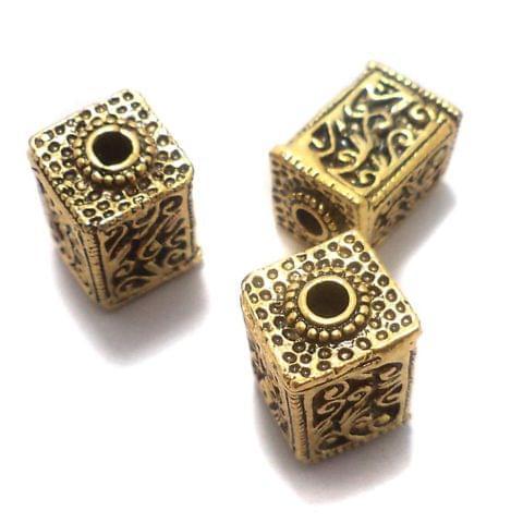 10 Pcs. German Silver Ractangle Beads Golden 17x11 mm