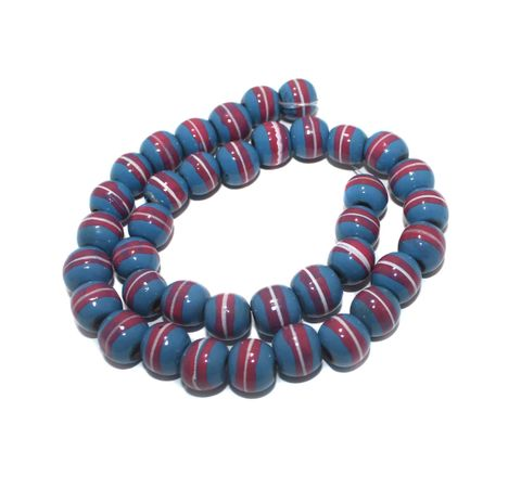 35+ Hand Printed Wooden Round Beads Royal Blue 12mm
