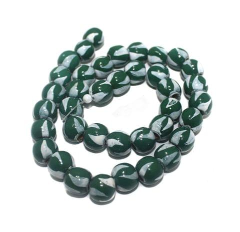 35+ Hand Printed Wooden Round Beads White And Green 12mm