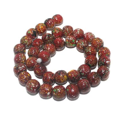 35+ Hand Printed Wooden Round Beads Red 12mm