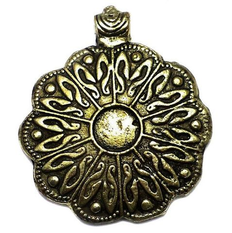 Antique Golden Metal Pendant 3 Inch